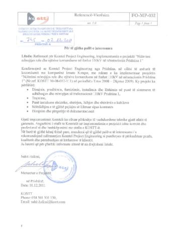 Mbrojtja rele dhe SCS në NS 110kV Prishtina 1