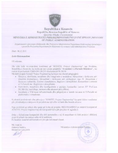 Avansimi i  E-Portalit të Qeverisë së Kosovës