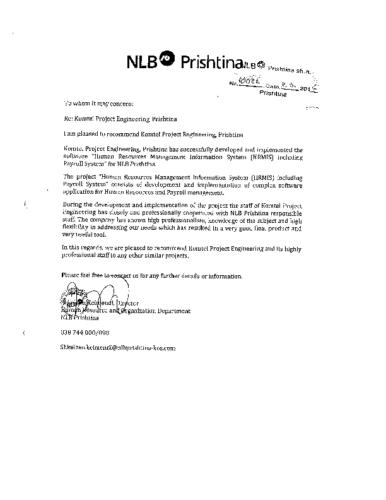 Sistemi i Menaxhimit të BNJ në NLB Bank