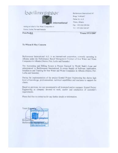 Sistemi i kontabilitetit dhe faturimit për Ujësjellësat e Shqipërisë